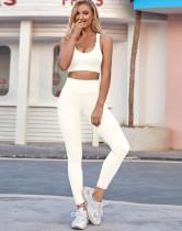 Sommer Sport Yoga Solid BH und High Waist Legging Set