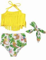 Top de biquíni e fundo floral com borlas para bebês e tiara combinando