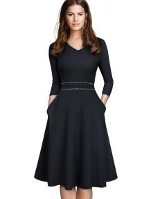 Bahar Vintage Tarzı V Yaka Patenci Elbise