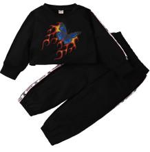 Çocuk Kız Bahar Baskı Siyah Crop Üst ve Pantolon Takım