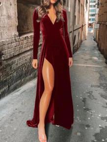 Winter Formal V-Neck Side Slit Velvet Evening Dress