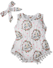 Baby Girl Summer Sleeveless Print Rompers with Matching Headband