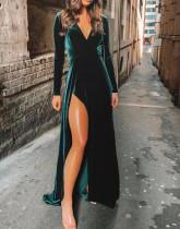 Winter Formal V-Ausschnitt Seitenschlitz Samt Abendkleid