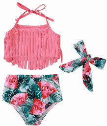 Baby Girl Tassels Bikini Top and Floral Bottom Swimwear with Matching Headband