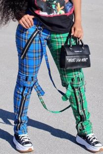 Summer Plaid Print Contrast Zipped Trousers