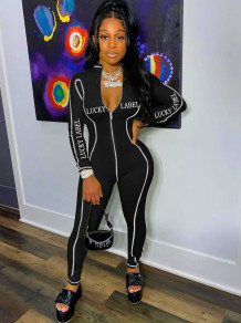 Spring Letter Print Zipped Sports Jumpsuit