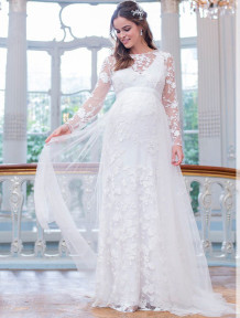 Spring Pregenant Bridal White Lace Long Wedding Dress