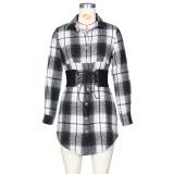 Robe chemisier décontractée à lacets à imprimé écossais d'automne