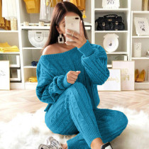 Conjunto de pantalón y top de suéter informal de invierno a juego