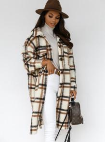 Winter Plaid Druckknopf Up Pocket Long Coat