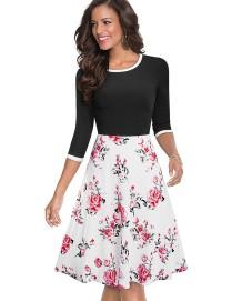 Bahar Vintage Stil O-Boyun Çiçekli Patenci Elbisesi