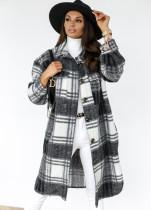 Manteau long hiver à carreaux avec poche boutonnée