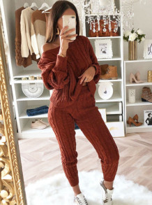 Winter Casual Sweater Top and Pants Matching Set