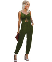 Sommer Casual Solid Cut Out Strings Strap Jumpsuit