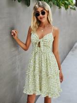 Летнее повседневное платье с цветочным принтом и оборками