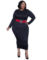 Plus Size Spring Formal Solid Midi Dress