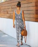 Pigiama estivo senza maniche con stampa leopardata