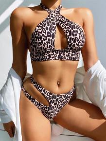 Two Piece Leopard Cross Halter Swimwear