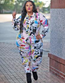 Bijpassende set blouse en broek met voorjaarsfiguurprint