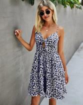 Vestido de volantes con correa floral informal de verano