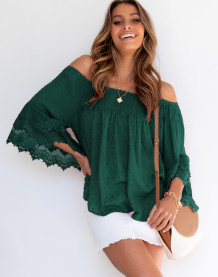 Lente-casual off-shoulder gestippelde losse blouse met wijde mouwen