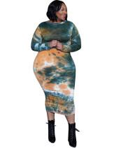 Plus-size lente formele tie-dye midi-jurk