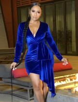 Winter Blue Velvet Sexy V-Ausschnitt Unregelmäßiges Partykleid