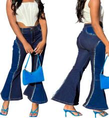 Jeans svasati a vita alta a contrasto alla moda invernale