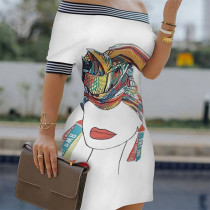 Mini abito estivo bianco con spalle scoperte