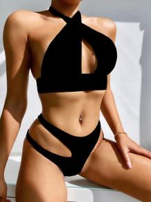 Two Piece Black Cross Halter Swimwear