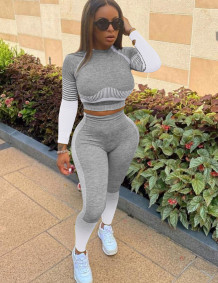 Spring Sports Fitness Contrast Crop Top and Leggings Set