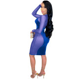 Frühling Sexy Mesh Patch Samt Party Bodycon Kleid