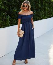 Sommer Elegantes schulterfreies langes Kleid