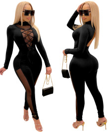 Winter Mesh Patch Sexy Lace Up Bodycon Jumpsuit