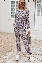 Ensemble pyjama avec chemise et pantalon à imprimé léopard de printemps