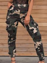 Pantalon cargo camouflage taille haute avec ceinture