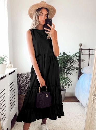 Yaz Gündelik Katı Kolsuz Fırfırlı Uzun Elbise