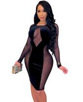 Vestito aderente da festa in velluto con toppe in maglia nera sexy primaverile