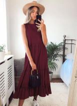 Sommer lässig feste ärmellose Rüschen langes Kleid