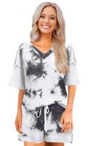 Summer Tie Dye V-Neck Shirt and Shorts Pajama Set