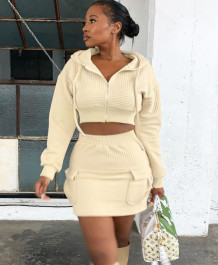 Winter Casual Zipped Hoody Crop Top and Pocket Mini Skirt Matching Set