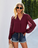 Spring Solid V-Neck Blouse with Mesh Sleeves