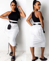Summer High Waist Pocket Strings Ruched Midi Skirt