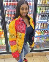 Manteau matelassé zippé à imprimé rétro contrasté d'hiver