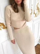 Winter Elegant Sweater Crop Top and Pencil Skirt Set