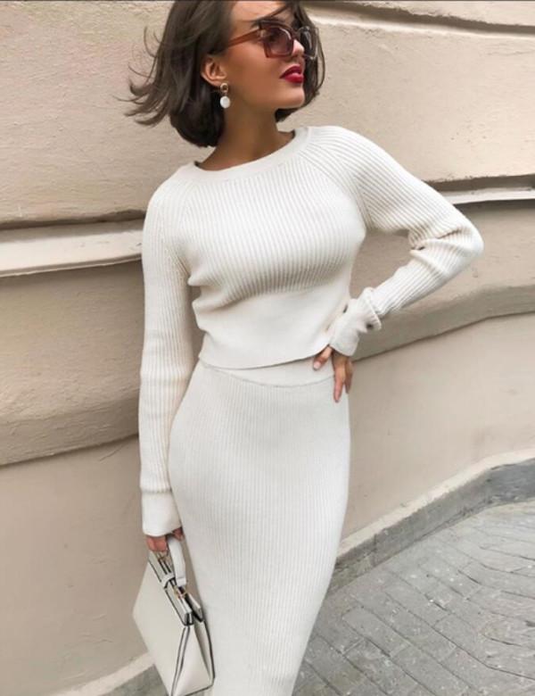 Winter Elegant Sweater Crop Top und Bleistift Rock Set