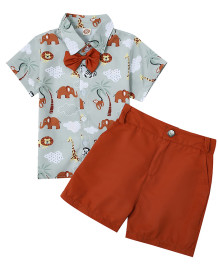 Sommer Kids Boy Gentleman Print Bluse und Plain Shorts Set