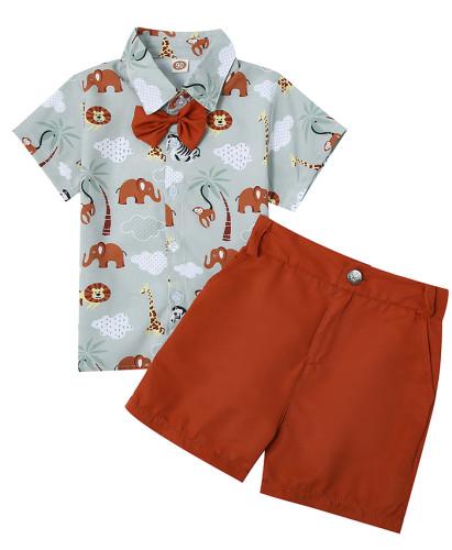 Summer Kids Boy Gentleman Print Blouse and Plain Shorts Set