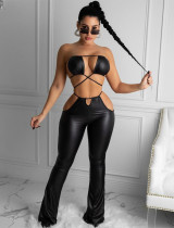 Summer Party Black Leather Bra and Pants Matching Set