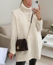 Ärmelloser langer, lockerer Pullover mit Winterkragen